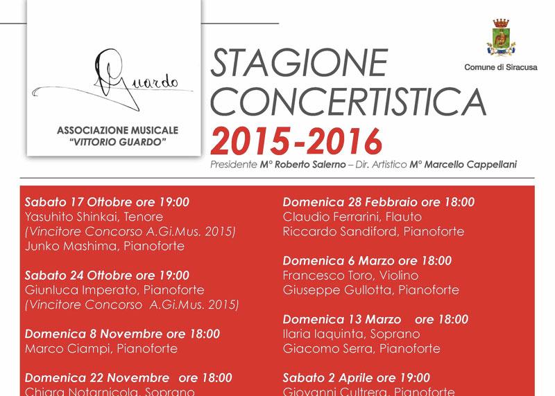 STAGIONE CONCERTISTICA 2015/2016